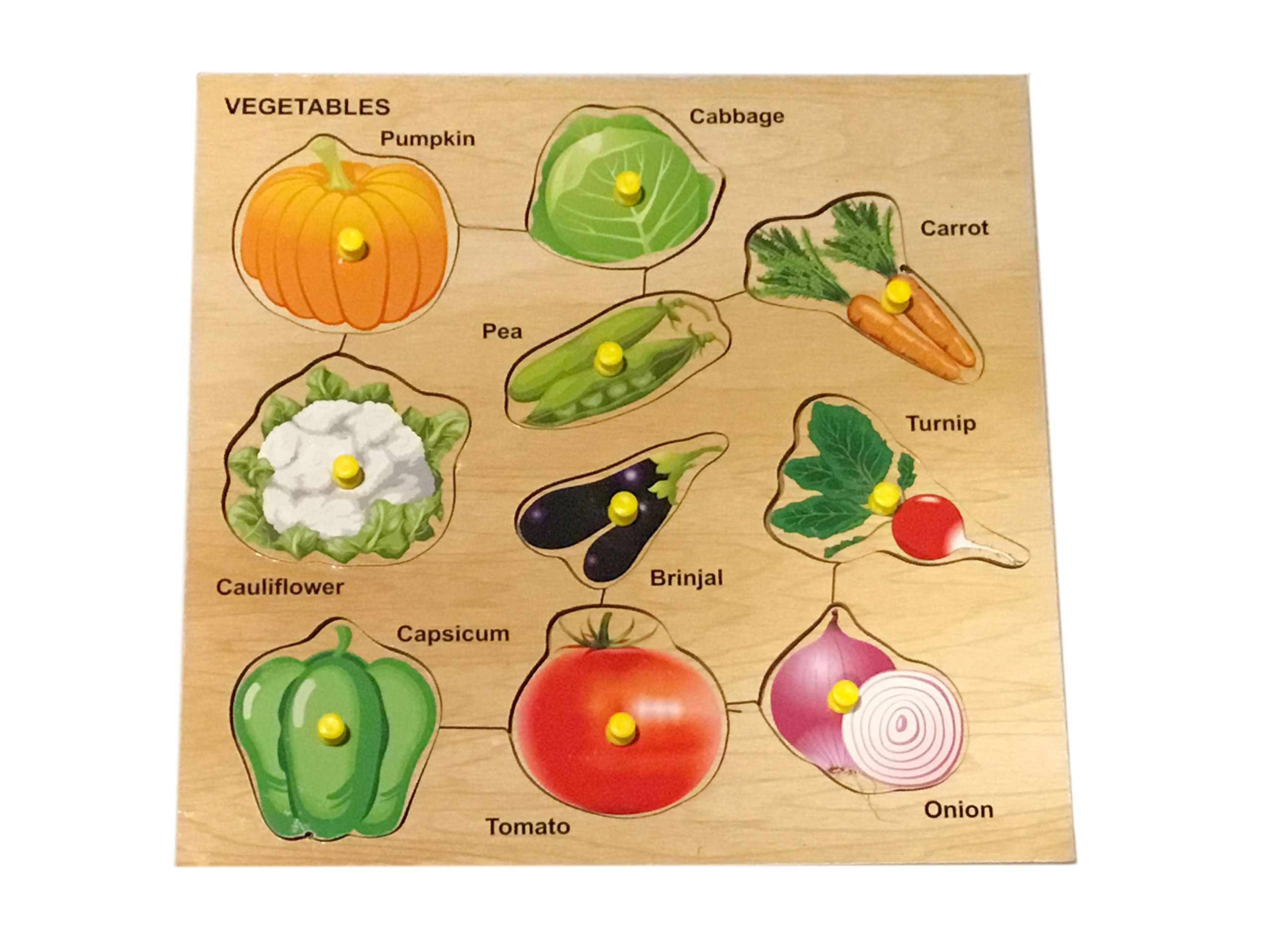 Mojopanda 10 Vegetables Picture with Knobs, Multi Color Kids Peg Puzzle Handcrafted Educational Toy