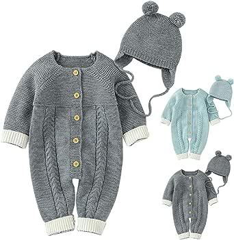 QWERT - Pelele de punto para bebé recién nacido niñas y niños