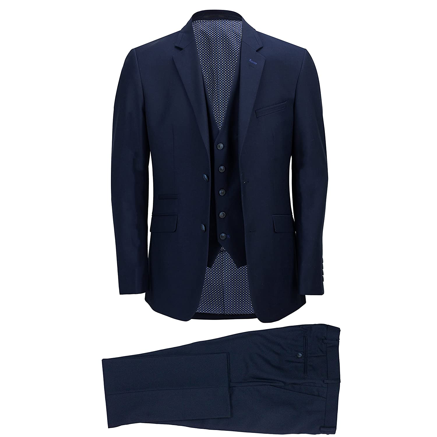 Cavani Men's Blue Smart Formal Tailored Fitted 3 Piece Suit – Blazer Waistcoat Trouser