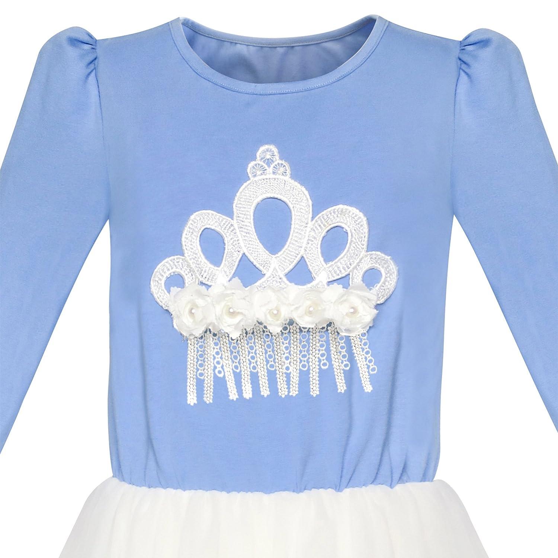 Sunny Fashion Girls Dress Turquoise Long Sleeve Lace 2-in-1 Princess Tutu