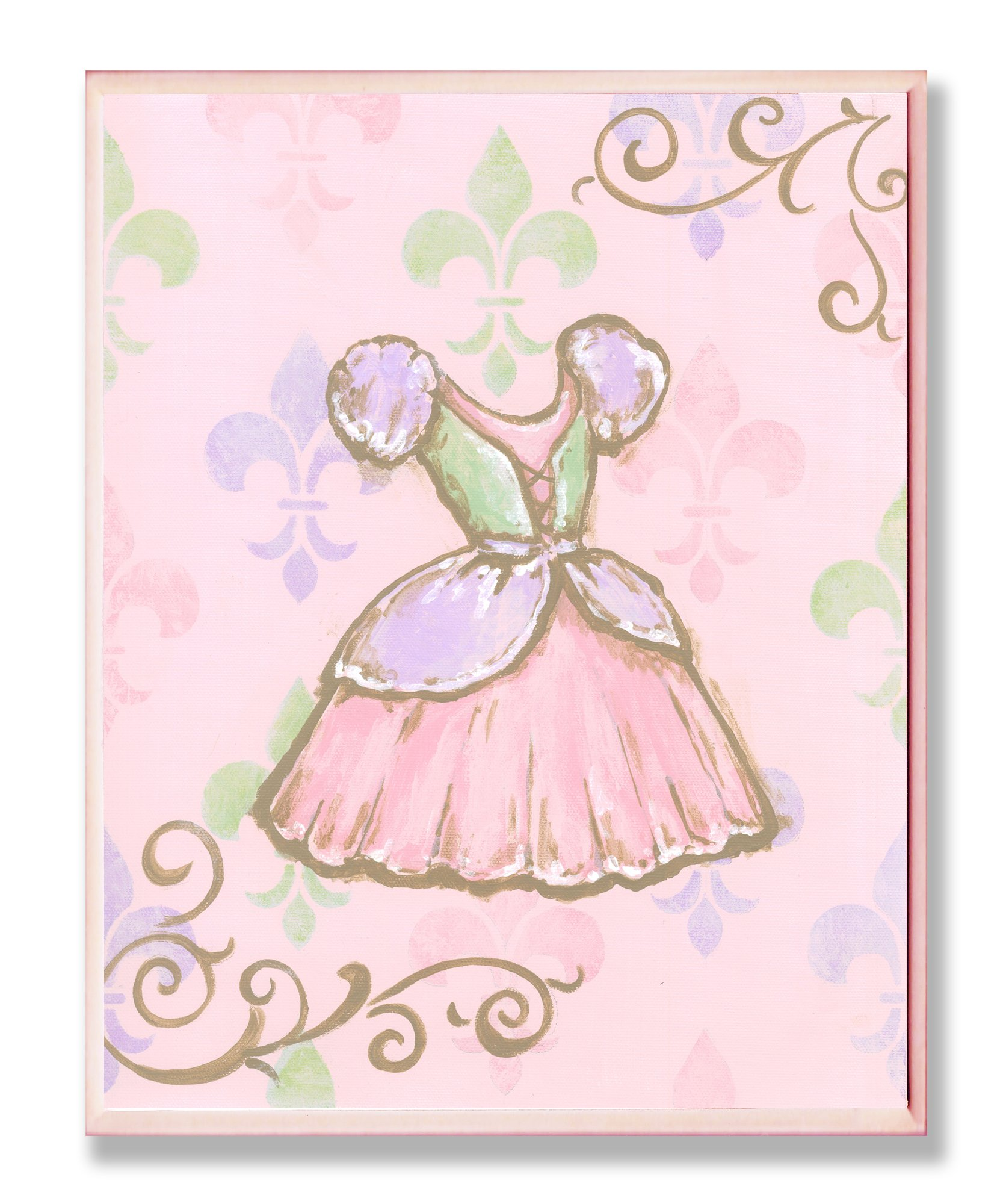 The Kids Room by Stupell Princess Dress with Fleur de Lis on Pink Background Rectangle Wall Plaque by The Kids Room by Stupell