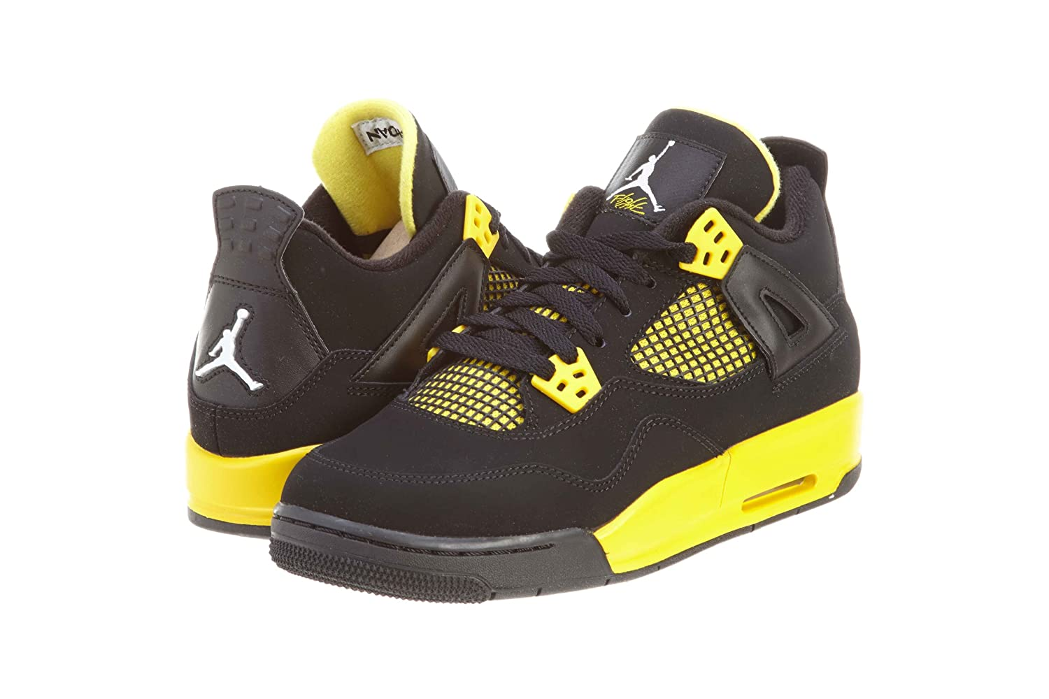 Black, white-tour yellow Nike Jordan Kids Air Jordan 4 Retro Bg Basketball shoes