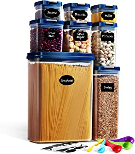 Lockcoo Food Storage Containers with Lids Airtight, 8PC BPA Free Cereal & Dry Food Storage Containers Set with Labels/Marker/Spoon Set, Kitchen Pantry Organization for Spaghetti Cereal Flour