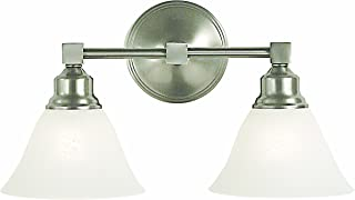 """product image for Framburg 2422 BN/WH Taylor 2-Light Vanity Fixture with White Marble Glass Shades, Brushed Nickel, 16"""" x 10"""" x 9"""""""