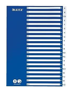 Leitz 12536001 - Separadores de índice (A4, 21 divisores A - Z), color blanco y azul: Amazon.es: Oficina y papelería