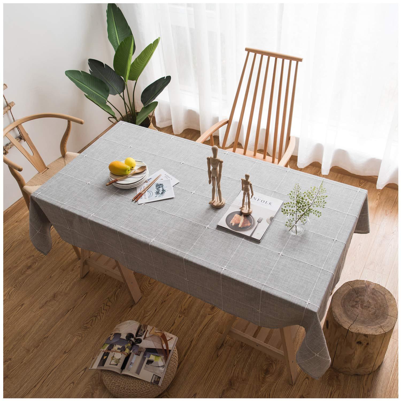 Jiuhong 無地 刺繍 格子柄 テーブルクロス コットンリネン 防塵 テーブルカバー キッチン ダイニング テーブル デコレーション Rectangle/Oblong, 52 x 70 Inch グレー Rectangle/Oblong, 52 x 70 Inch グレー B07KNWC417