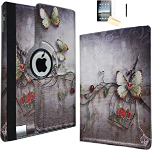 JYtrend iPad Air 2 Case, (R) Rotating Stand Smart Case Cover Magnetic Auto Wake Up/Sleep for iPad Air 2 A1566 A1567 MGLW2LL/A MH0W2LL/A MGL12LL/A MH2V2LL/A MH2W2LL/A MH2U2LL/A (Butterfly)