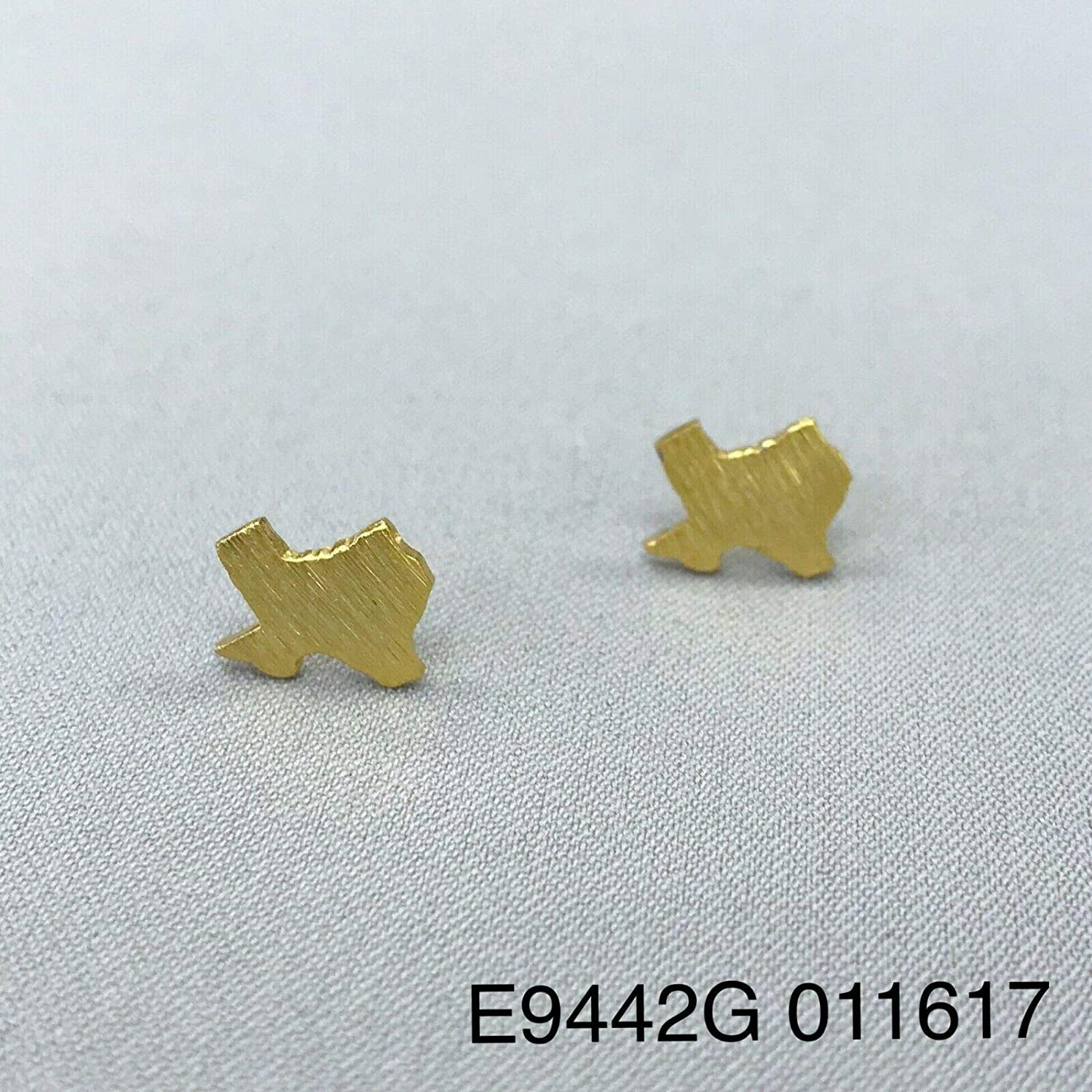 Matte Gold Finished Scratched Mini State of Texas Shape Stud Post Earrings