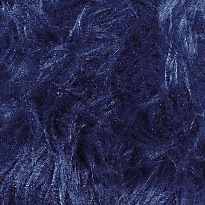 Navy Blue with 75mm  Sky Blue Flecks Super Soft Luxury Faux Fur Fabric 50mm