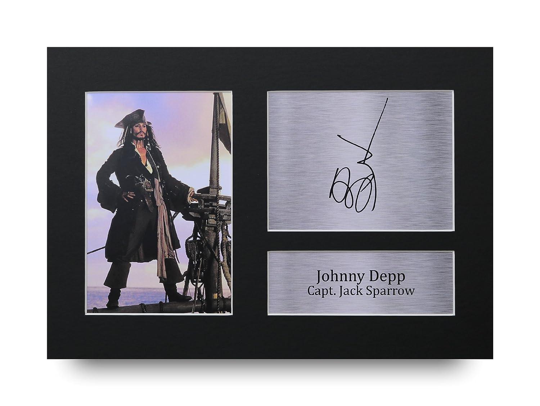 Johnny Depp firmato A4stampato Autograph pirati dei Caraibi stampa foto immagine display–Great gift idea HWC Trading
