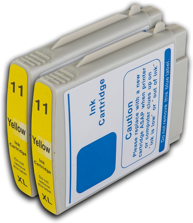 The Ink Squid Cartuchos de tinta compatibles con. De repuesto para HP 11 (amarillo, 2-Pack). Compatible con HP Business Inkjet 1000 1100 D 1100 1100 DTN 1100 DT 1200d 1200dn 1200 1200dtwn