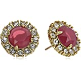 """kate spade new york """"Secret Garden"""" Dynasty Red and Clear Stud Earrings"""