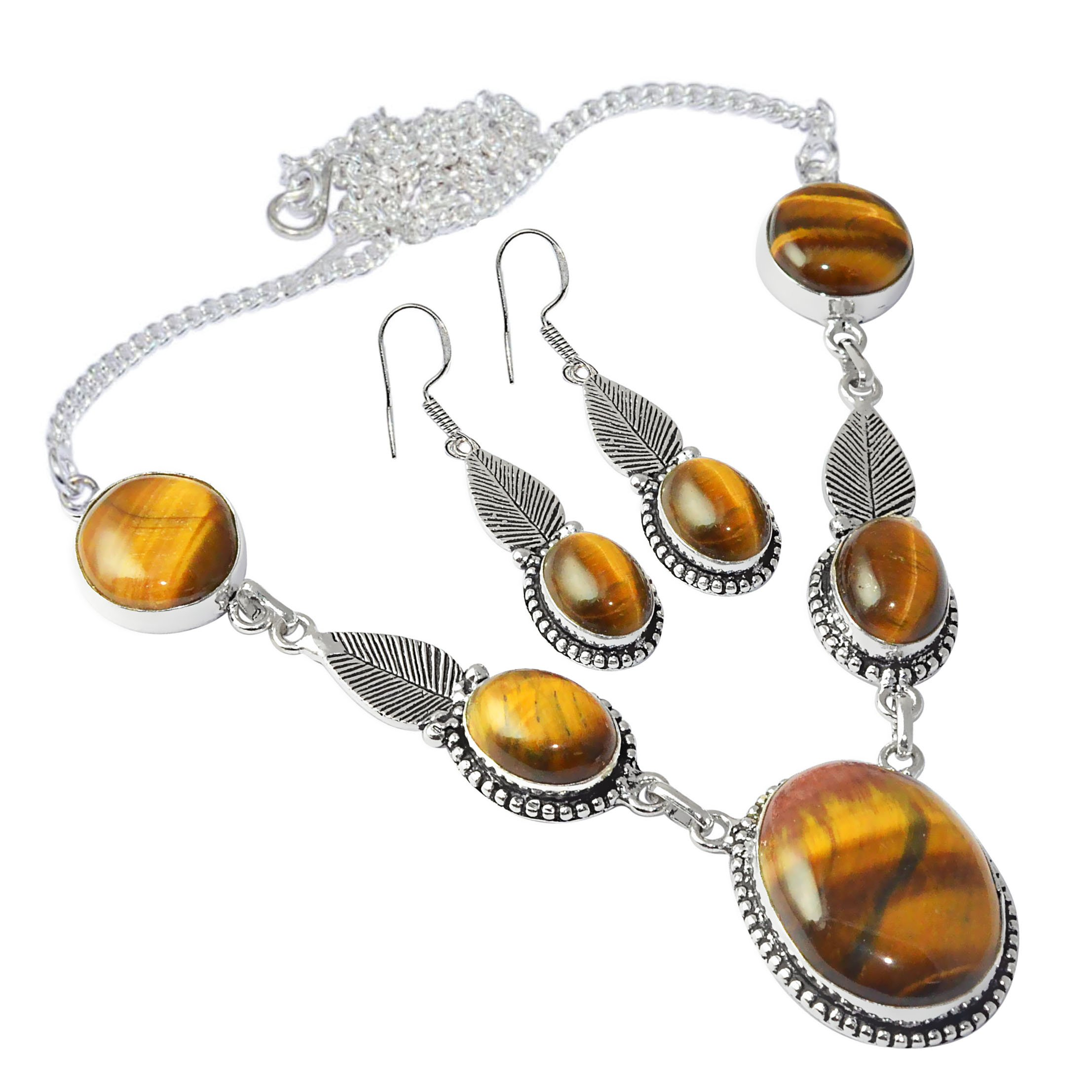 SIlVERART Genuine Cabochon Tiger Eye 925 Silver Plated (High Polished) Necklace Earring Sets