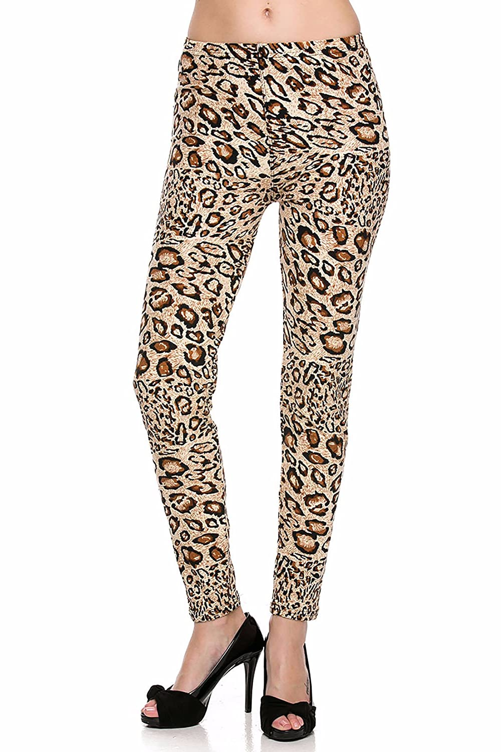 outlet Women\u0027s One size fit Brushed Leopard Animal Print Ankle Leggings  US-F094