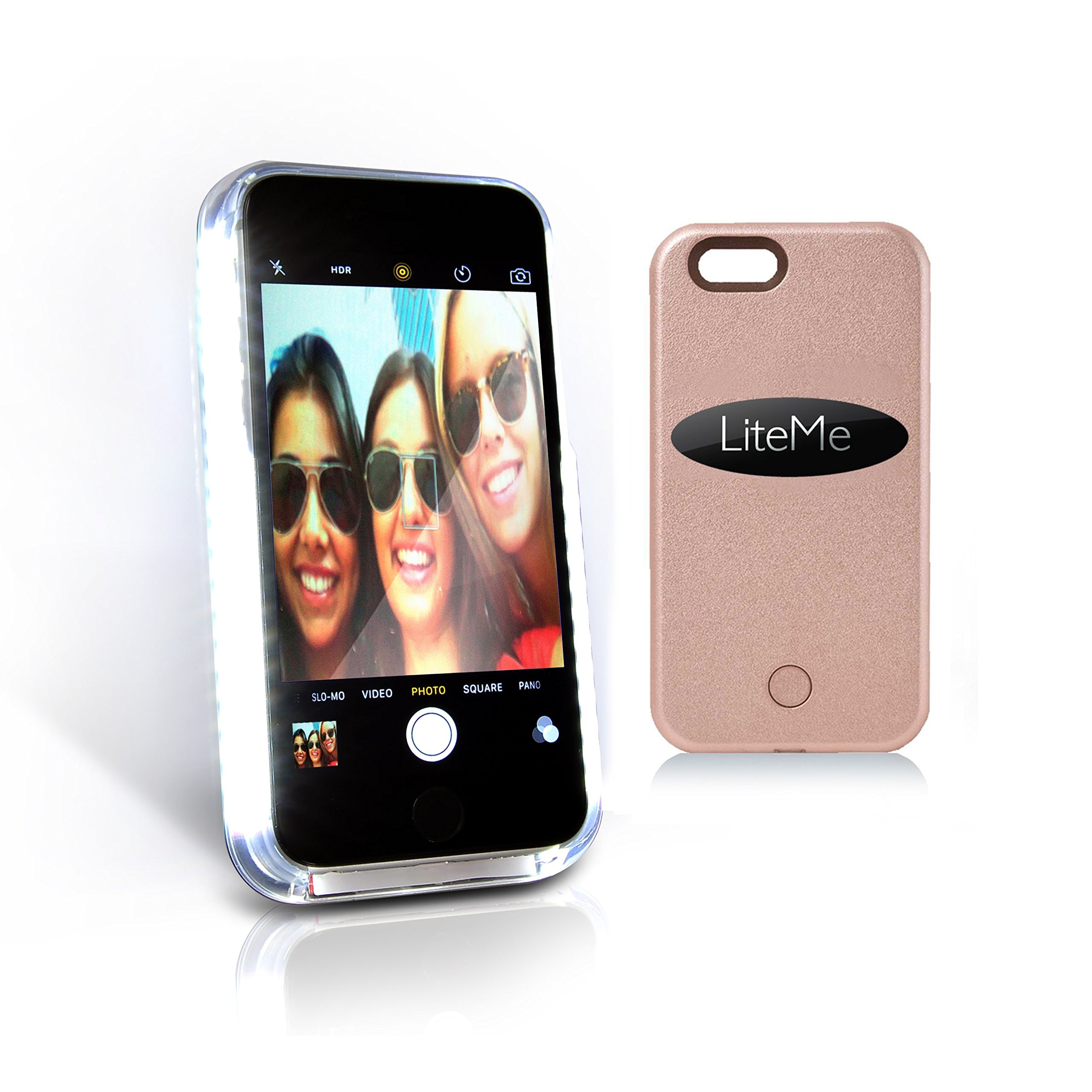 iPhone 6s Plus Phone Case - Lite-Me Selfie Lighted Smart Mobile Case with Built-in Power Bank, LED Lights - Heavy Duty Cellphone Protection Cover for Men/Women - SereneLife SLIP201BL (Blue)