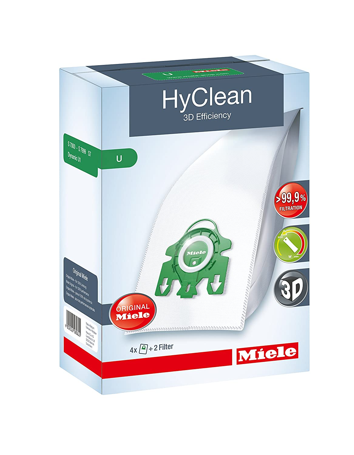 Miele Hyclean 3D U Series SMS Bags Filter Set Pack Of 4 Plus 2