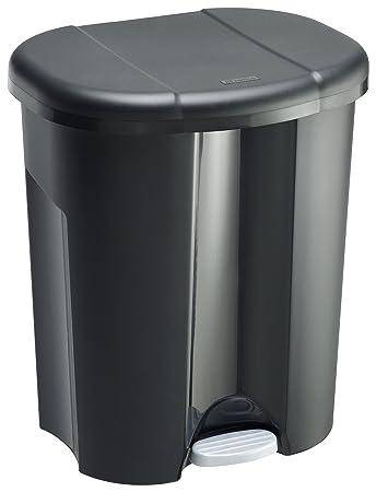 Rotho Trio Storage Pedal Dustbin 1 X 10 2 X 15 Litre Black One
