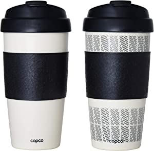Copco Reusable Set of 2 Insulated Double Wall Travel Mugs, 16-ounce, White/Black
