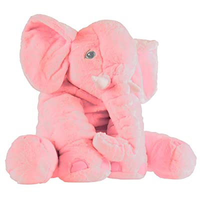 Elephant Stuffed Animal Toy- Plush, Soft Animal Friend for Toddlers, Boys, Girls and Adults by Hey!Play! (Pink): Toys & Games