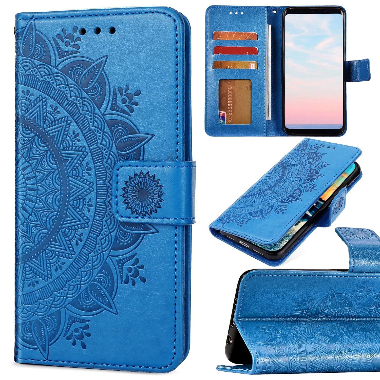 Saceebe Compatible avec Samsung Galaxy A20e Housse Cuir Coque /à Rabat Portefeuille Pochette Etui 3D R/étro Motif Mandala Fleur Flip Housse Protection Support Porte-Cartes Magn/étique,Marron