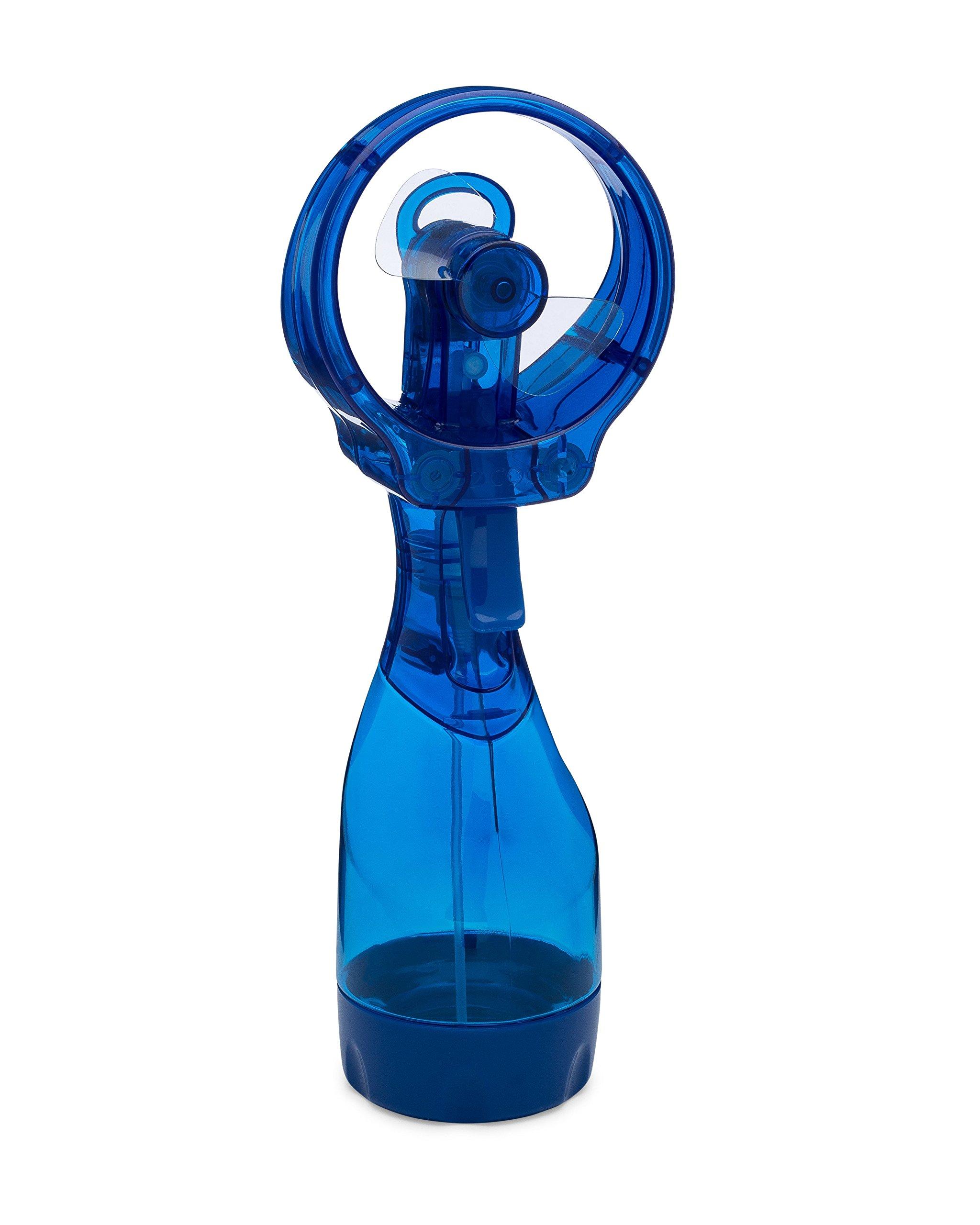 O2COOL Deluxe Misting Fan, Handheld Misting Fan, Battery Operated Fan, Water Spray Fan, Mini Portable Desk Fan, Personal Cooling Fan for Outdoor, Fine Mist Sprayer, Light Blue