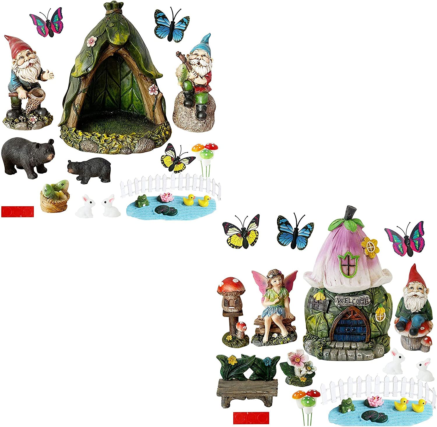 Miniature Fairy Garden Gnomes Decoration - 46PCS Small Figurines Statue Accessories Gnome House for Outdoor Indoor Home Yard Patio Decor Ornaments Kit Fence Mushroom