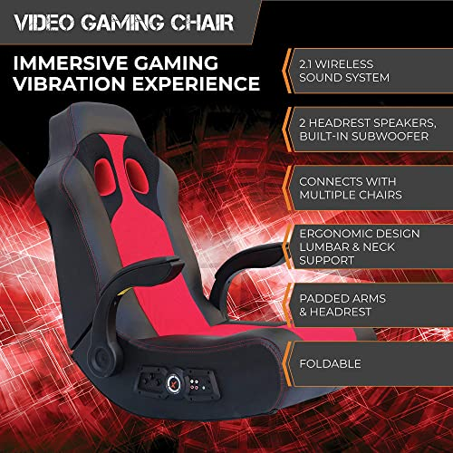 Ace Bayou X Rocker Vibe 2.1 Wireless Bluetooth Highback Rocking Video Gaming Floor Chair, Vibration, Foldable, Breathable Mesh
