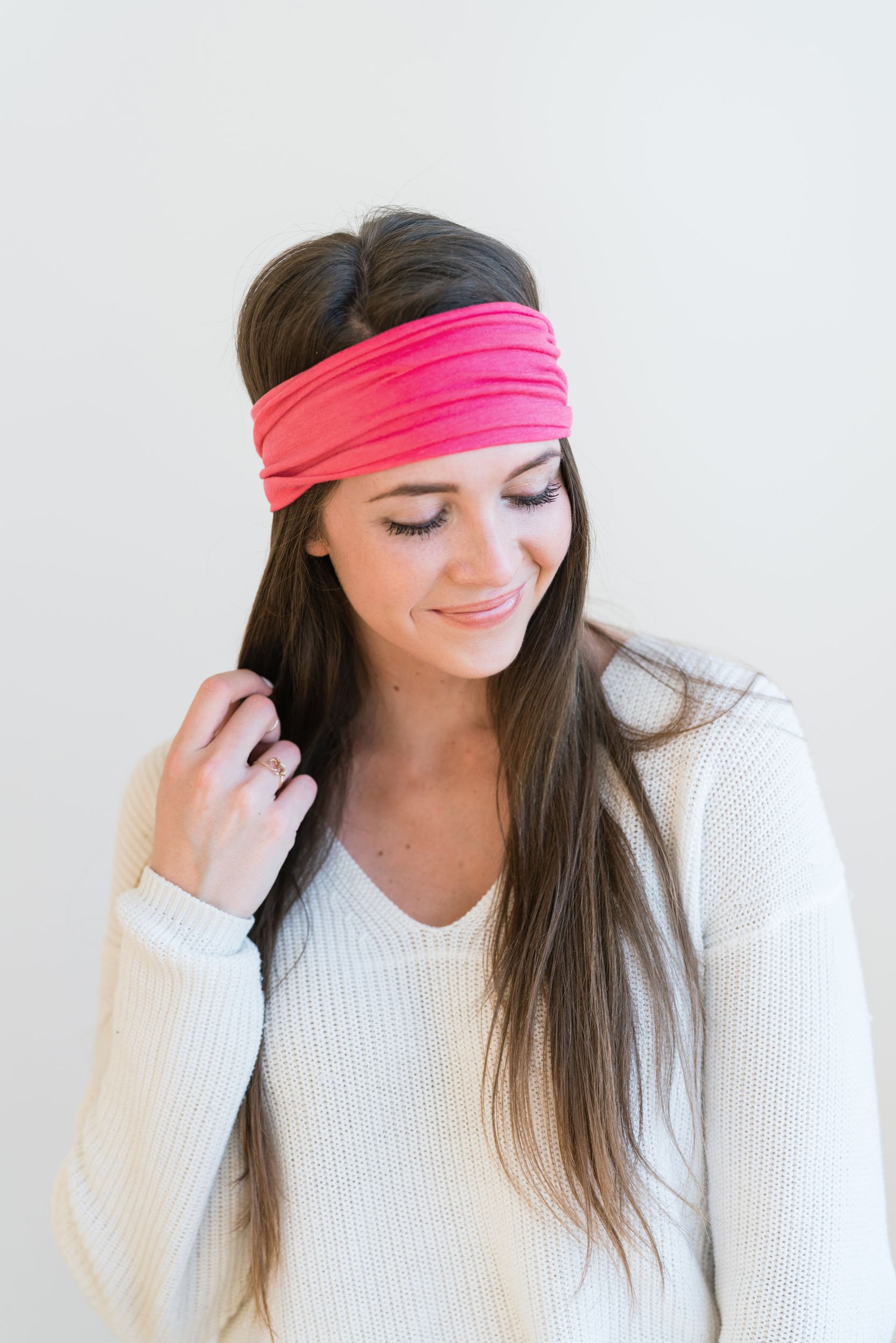 Maven Thread Women's Headband Yoga Running Exercise Sports Workout Athletic Gym Wide Sweat Wicking Stretchy No Slip 2 Pack Set Hot Pink SIREN by by Maven Thread (Image #5)