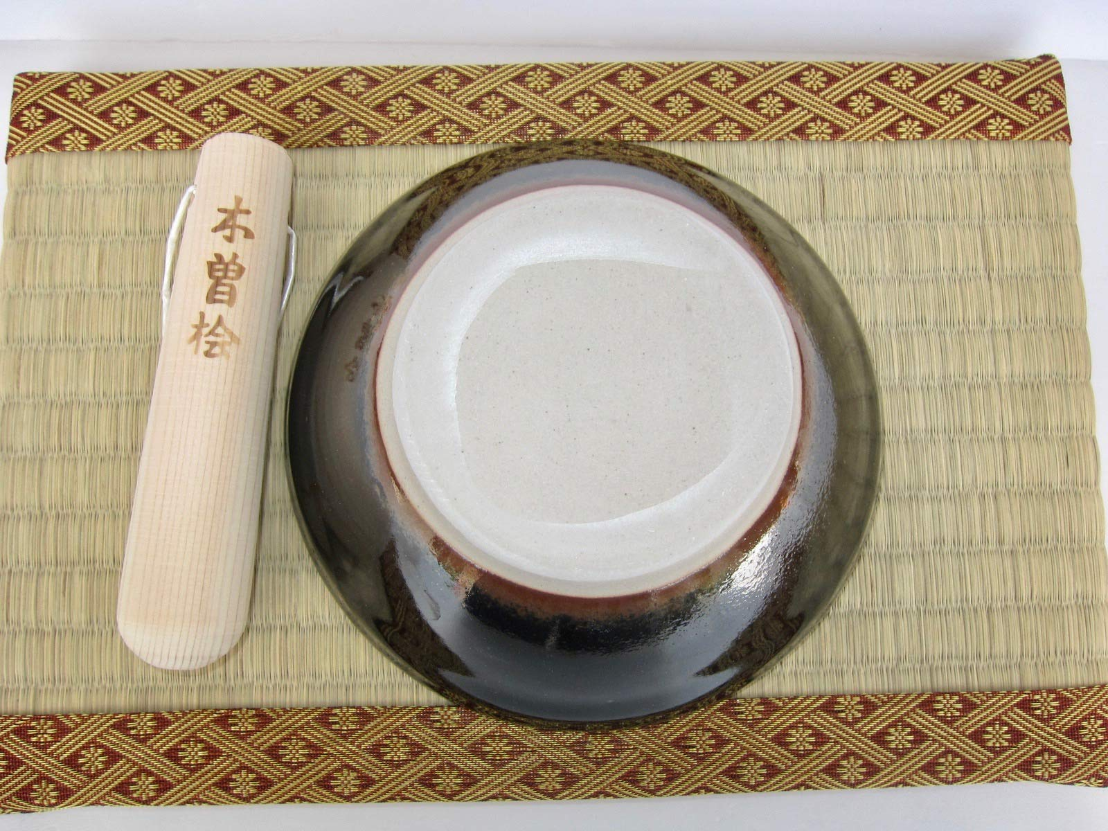 Made in Japan Ripple Ridge Mortar & Pestle (Suribachi & Surikogi) Set Small 5.91inches, for Both Right and Left Handed, Black, Authentic Mino Ware Pottery by Mino Ware