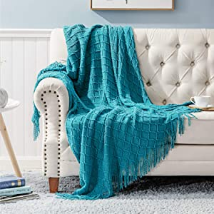 Bedsure 100% Acrylic Knit Throw Blanket, 50×60 Inch - Soft Warm Cozy Lightweight Decorative Blanket with Tassels for Couch, Bed, Sofa, Travel - Teal Turquoise Aqua Throw Blanket