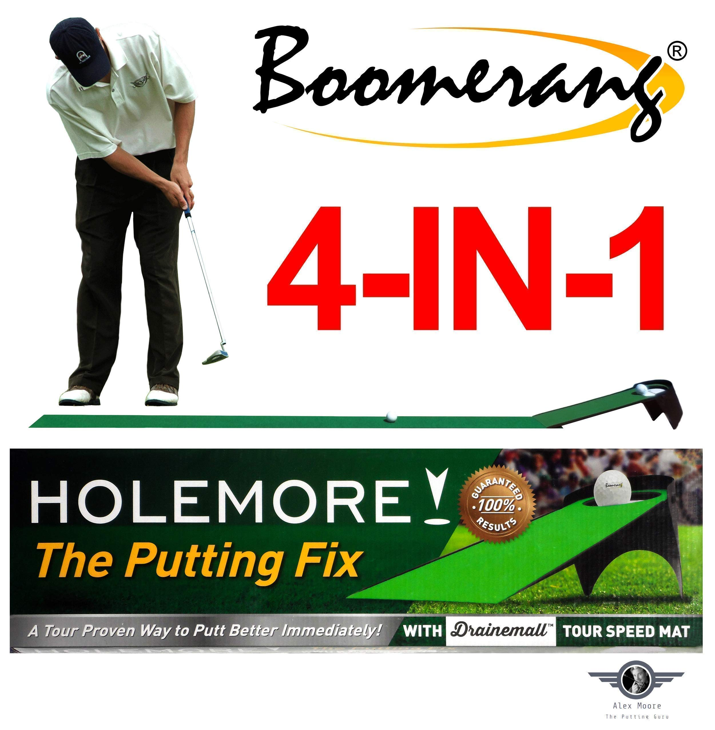 Boomerang Pressure Putting Trainer, Golf Putting Training Aid, Tour Speed Putting Mat & Ball Returner - Pressure Putting Practice Anywhere, Anytime by HOLEMORE The Putting Fix
