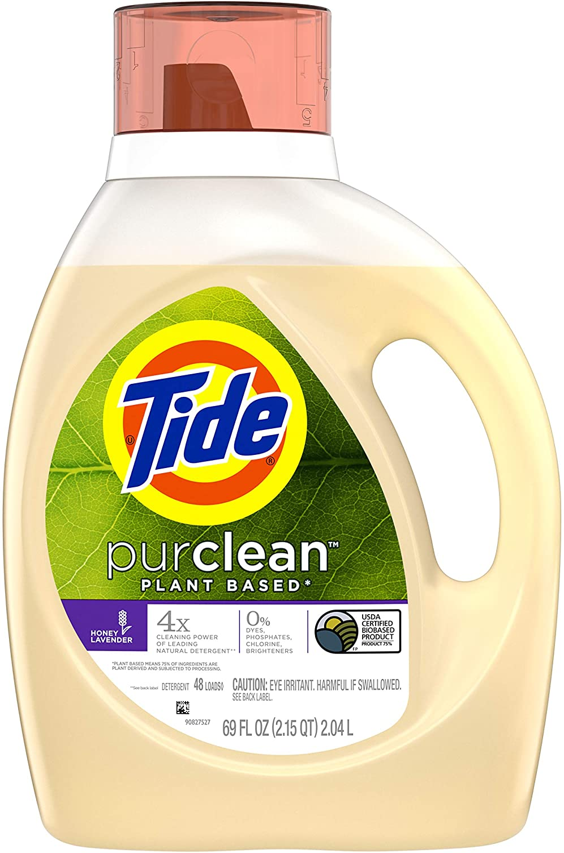 Tide Purclean Plant-Based Liquid Laundry Detergent, Honey Lavender Scent, 48 Loads, 69 Fl Oz