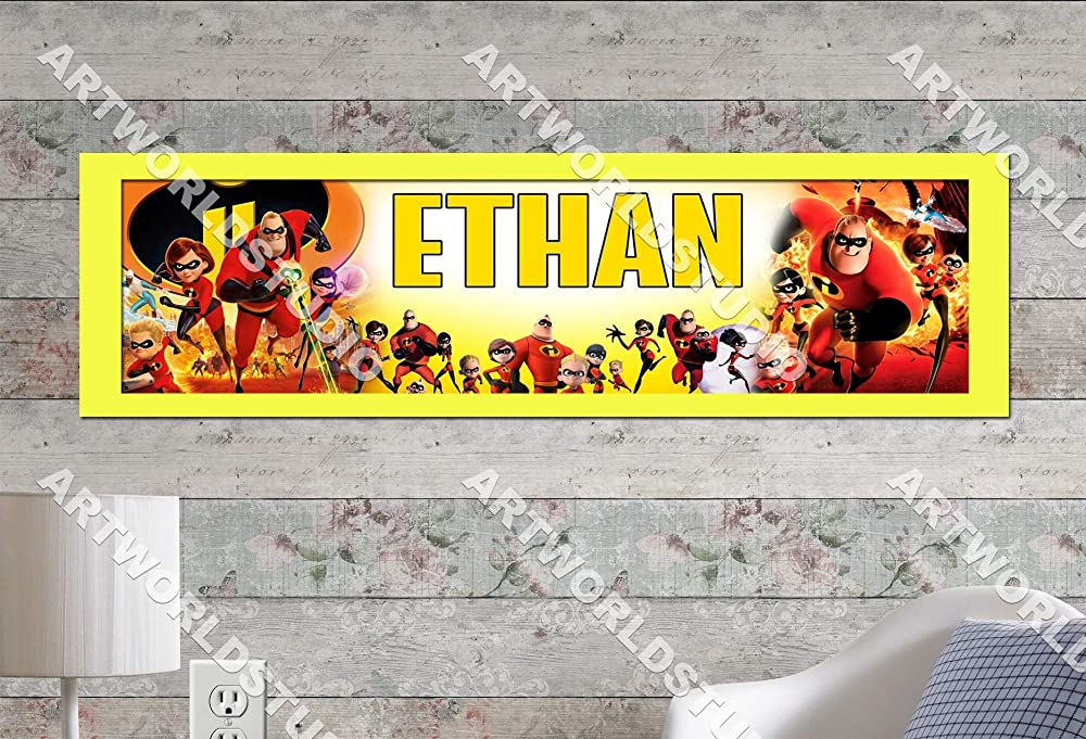 Personalized The Incredibles 2 Name Poster with Border Mat Art Wall Decor Banner