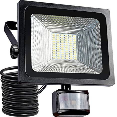 Luz de sensor de movimiento de 30W, Luces de inundación LED súper brillantes de SAMNUE, 2500 lumen de alto rendimiento, Reemplazo equivalente de luces ...