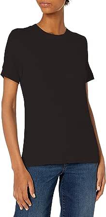 Daily Ritual Amazon Brand Women's Rayon Spandex Fine Rib Crew Neck Short-Sleeve