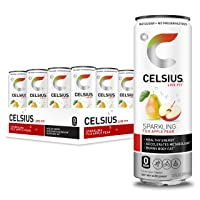 CELSIUS Sparkling Fuji Apple Pear Fitness Drink, Zero Sugar, 12oz. Slim Can, 12...
