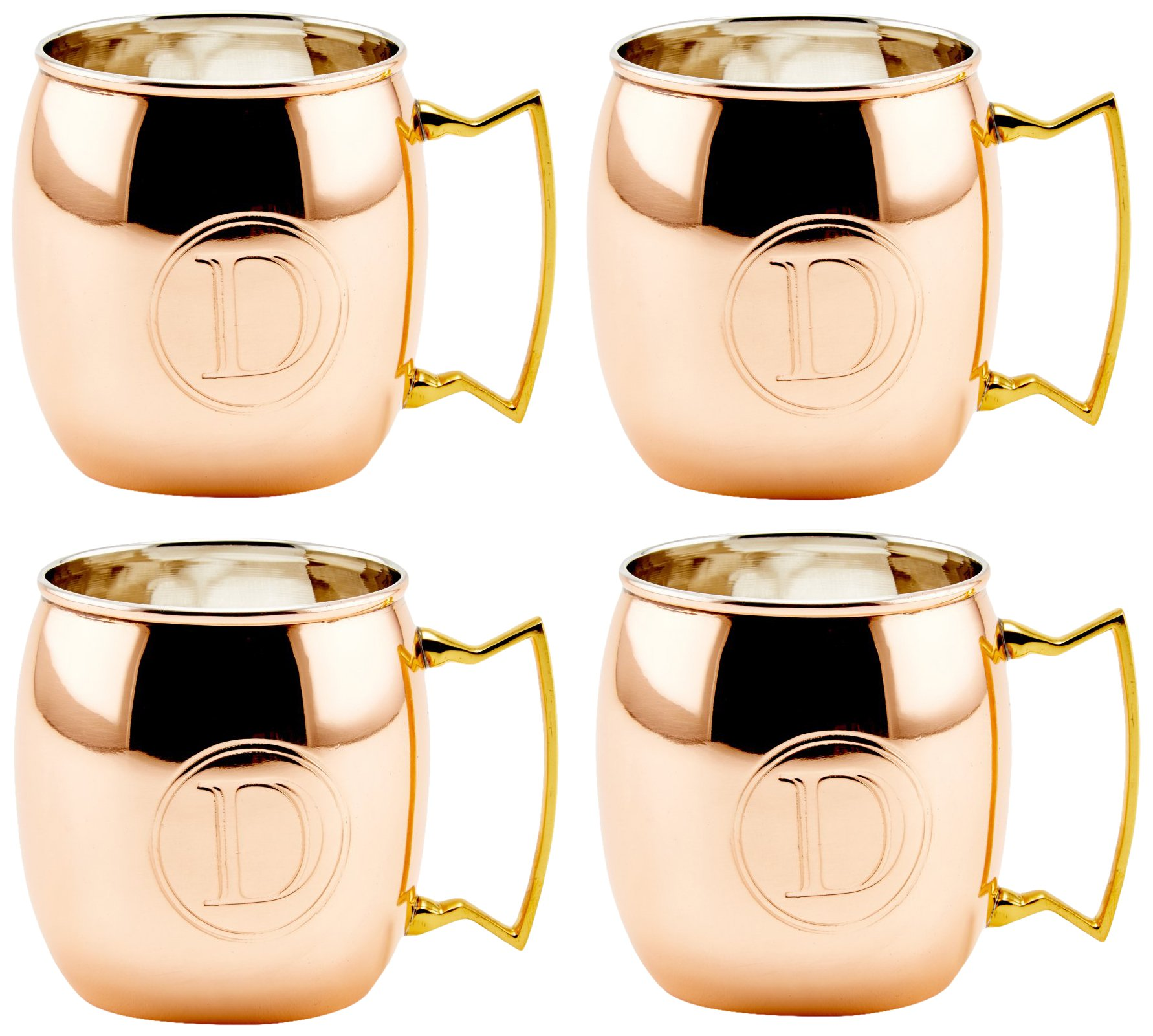 Old Dutch Solid Moscow Mule Mug, 16-Ounce, Monogrammed D, Copper, Set of 4 by Old Dutch