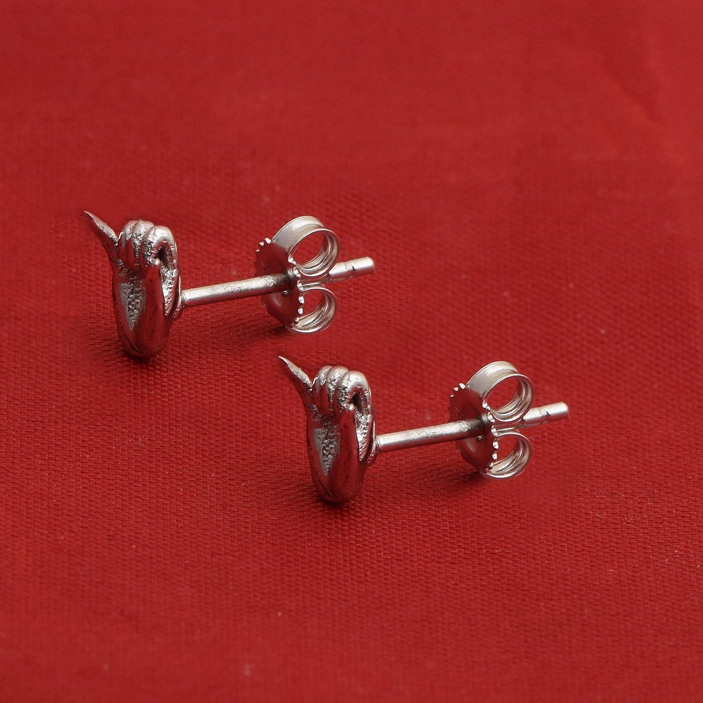 925 Sterling Silver hand Design Stud Ladies/' Earrings