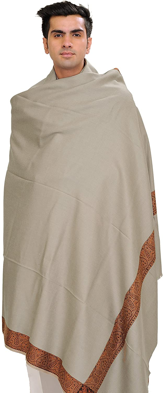 Exotic India Plain Men's Shawl with Brown Woven Border - Color Gray SHC43--gray