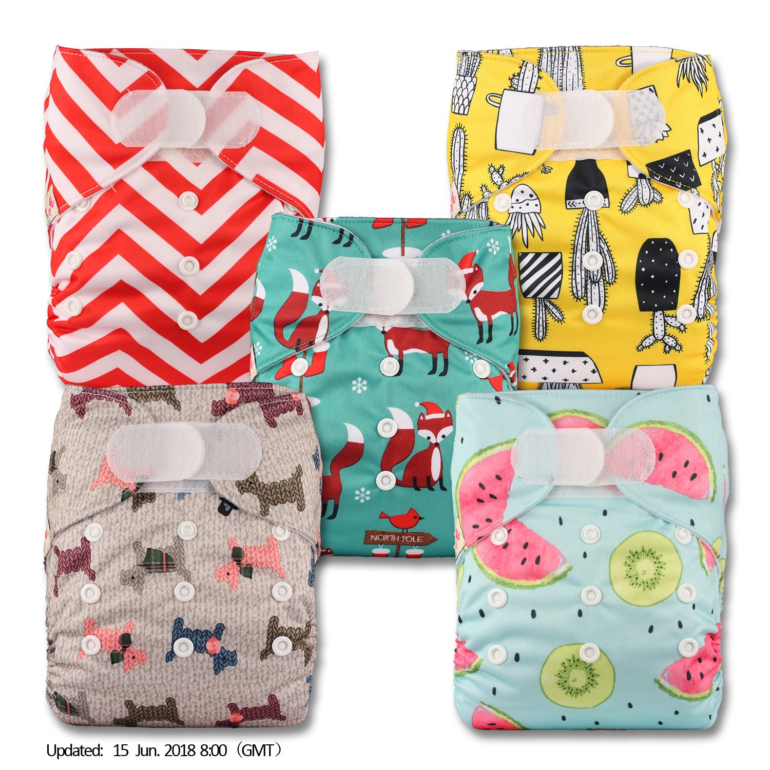 Littles /& Bloomz Set of 5 Fastener: Hook-Loop Patterns 514 with 5 Microfibre Inserts Reusable Pocket Cloth Nappy