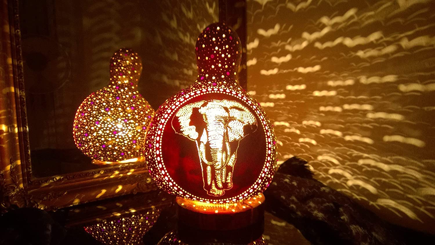 The Walk | Gourd Lamp Shade Night Light Unique Anniversary Birthday Gift Idea Elephant Item Home Decor Accessories