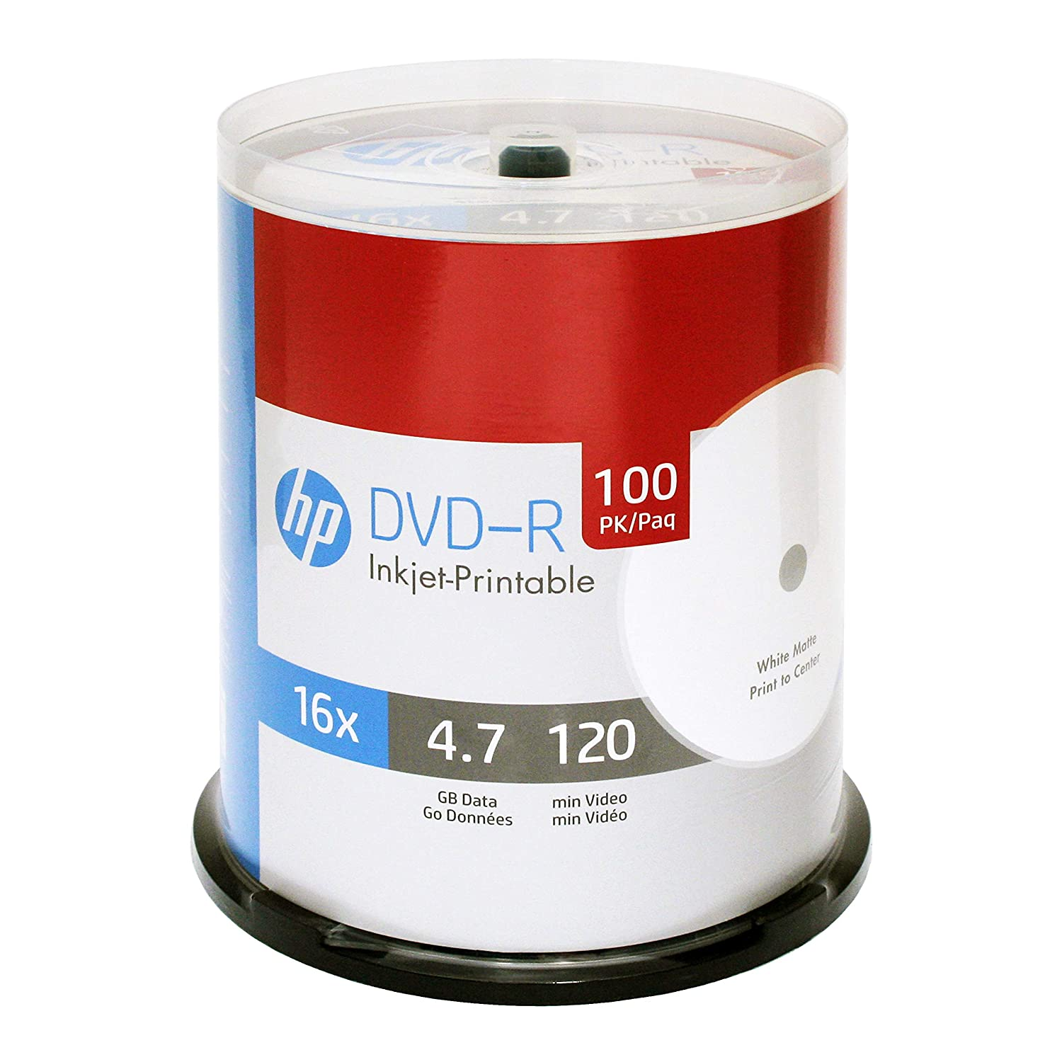 image regarding Ink Jet Printable Dvd called HP DVD-R 4.7GB 16X White Inkjet Printable 100 Pack in just Spindle