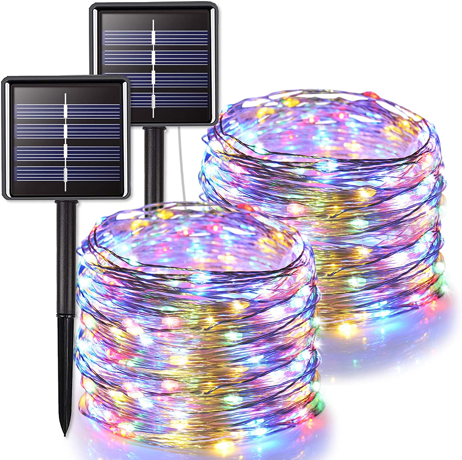 JMEXSUSS 2 Pack Solar String Lights Outdoor Waterproof, 66ft 200 LED Solar Christmas Lights Multicolor, 8 Modes Silver Wire Fairy Lights for Home Garden, Patio, Wedding, Party, Xmas Decoration