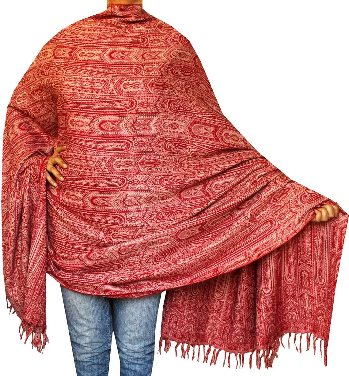 Womens Paisley Wool Shawl Wrap Gift India Clothes 82 x 42 inches