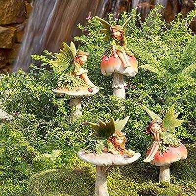 Plow & Hearth GO7431 Fairies On Mushrooms Outdoor Garden Stakes, Set of 4 : Garden & Outdoor