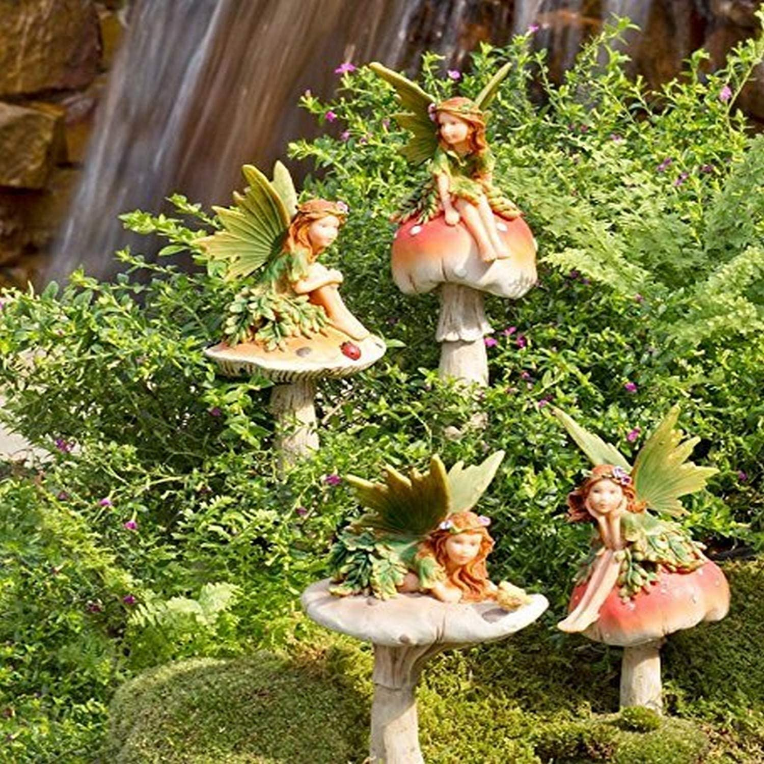 Plow & Hearth GO7431 Fairies On Mushrooms Outdoor Garden Stakes, Set of 4
