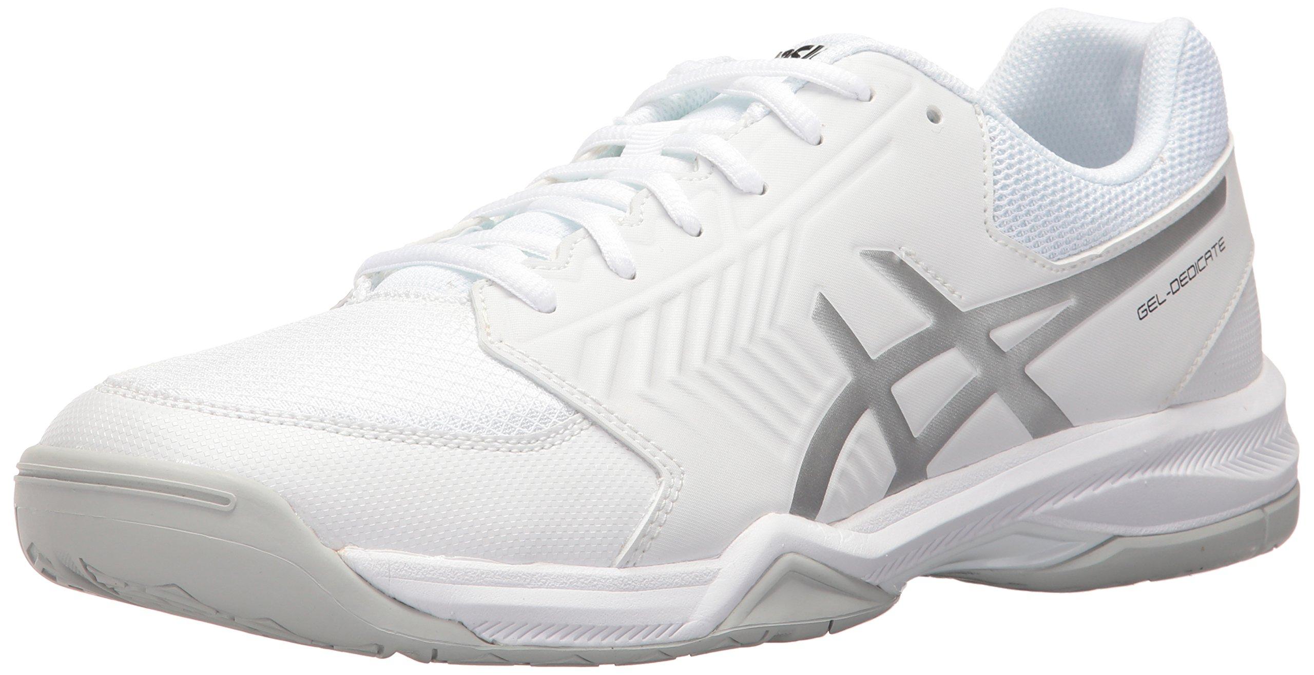 ASICS Men's Gel-Dedicate 5 Tennis Shoe, White/Silver, 8 M US