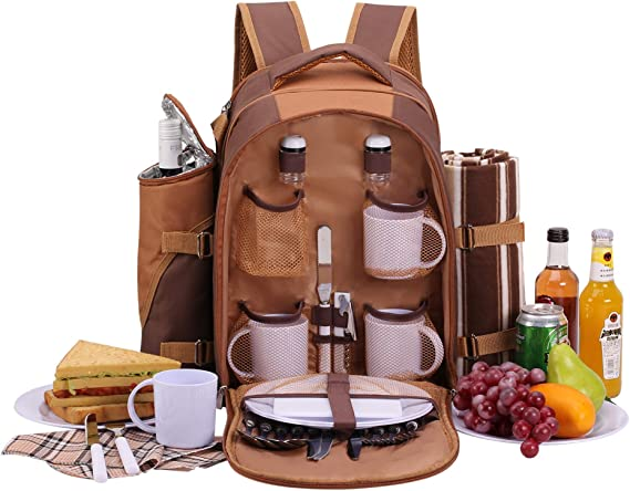 apollo walker Mochila de Picnic para 4 Personas Mochila de Picnic Bolsa cesto Bolsa refrigeradora con Juego de vajilla y Manta
