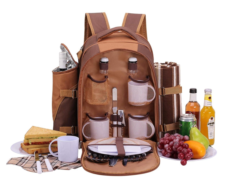 *Apollowalker Picknickrucksack für 4 Personen mit Fleece-Decke und Kühlfach*