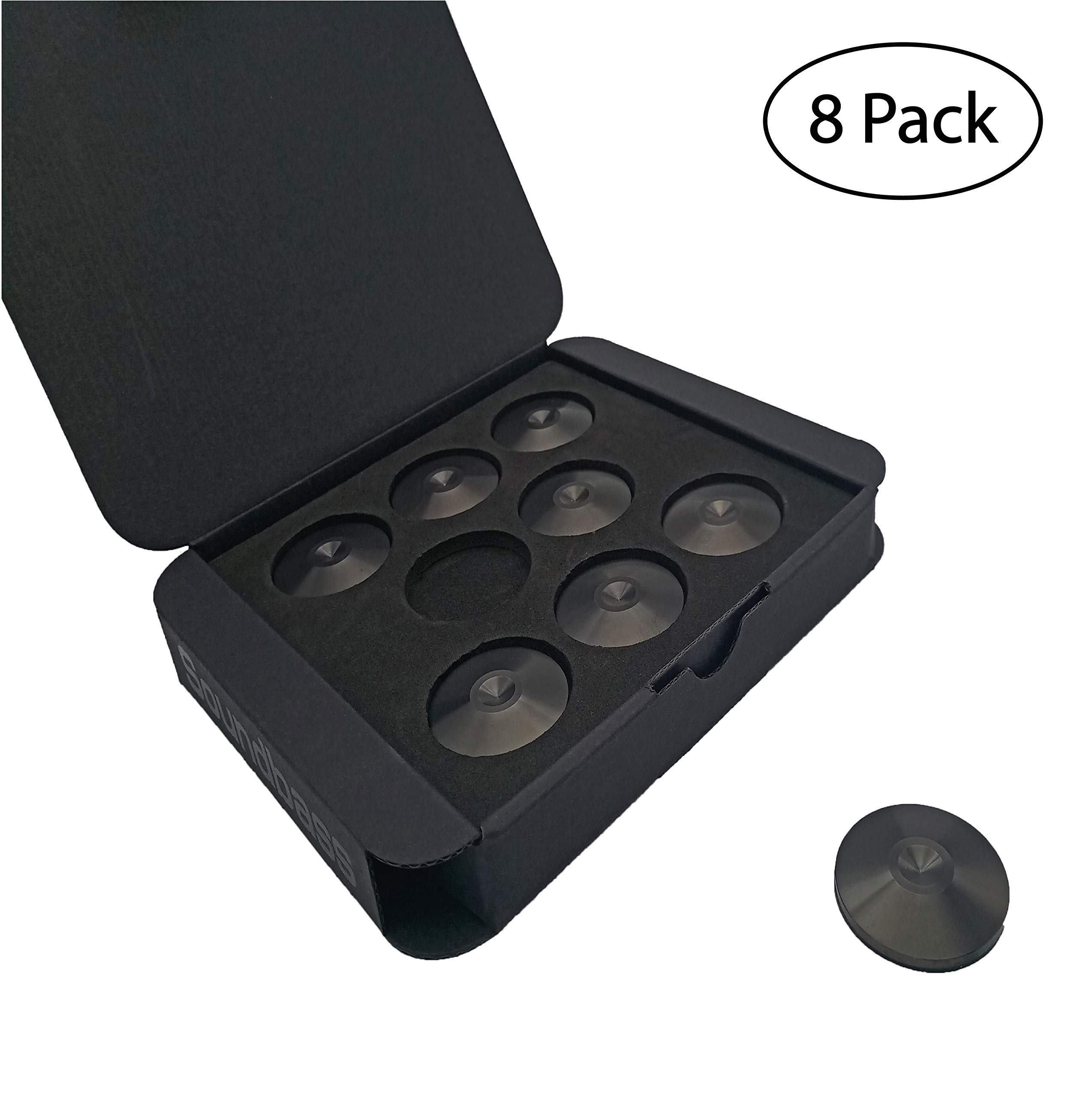 Set of 8 Satin Black Hi-Fi Spike Shoes Isolation Pads by Soundbass